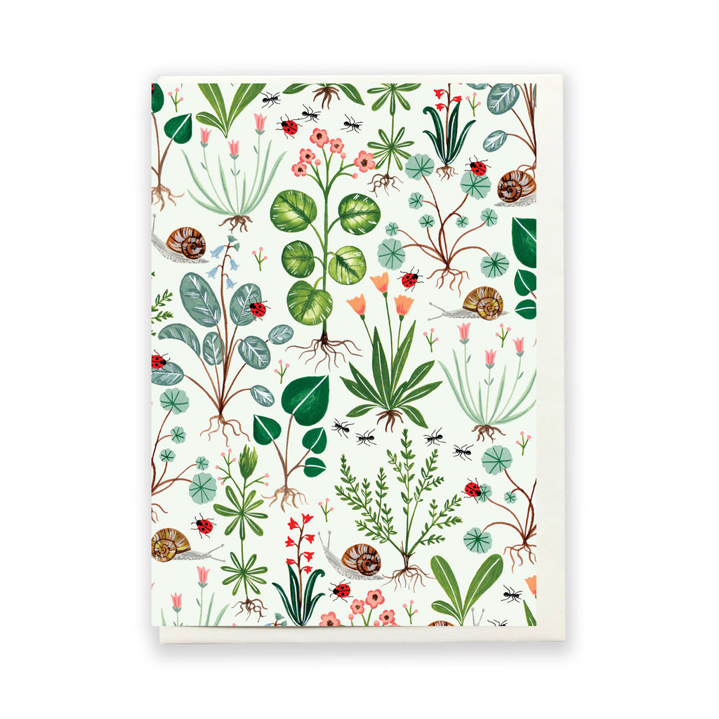 Green Botanical Greeting Card by Flora Waycott