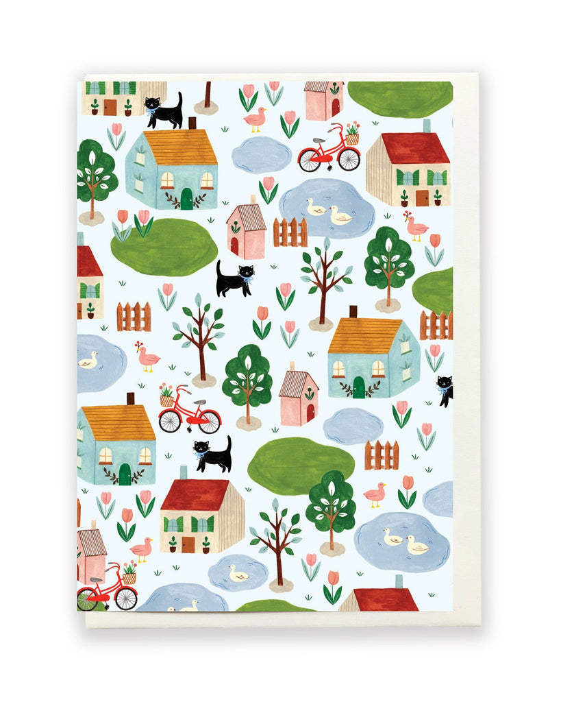 Neighbourhood Greeting Card by Flora Waycott
