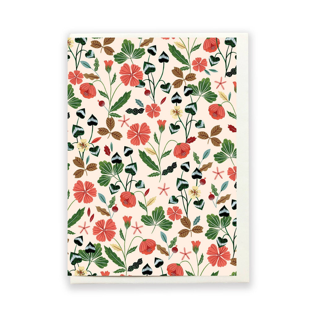 Peach Floral Greeting Card by Flora Waycott