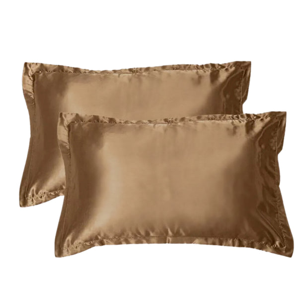 2 LUXURY SATIN PILLOWCASES - CHAMPAGNE