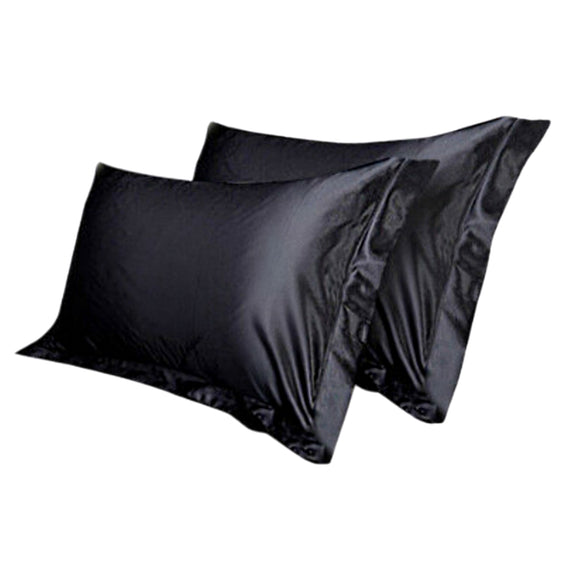 2 LUXURY SATIN PILLOWCASES - BLACK