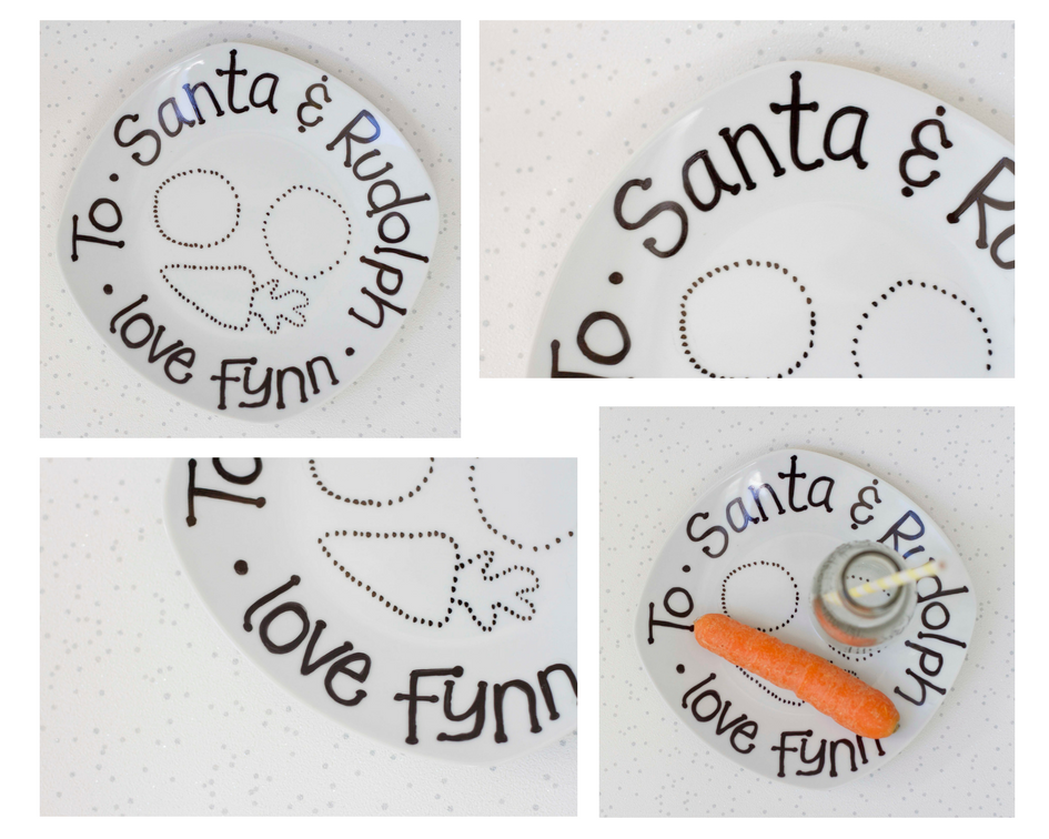 The finished squiffy print xmas eve plate