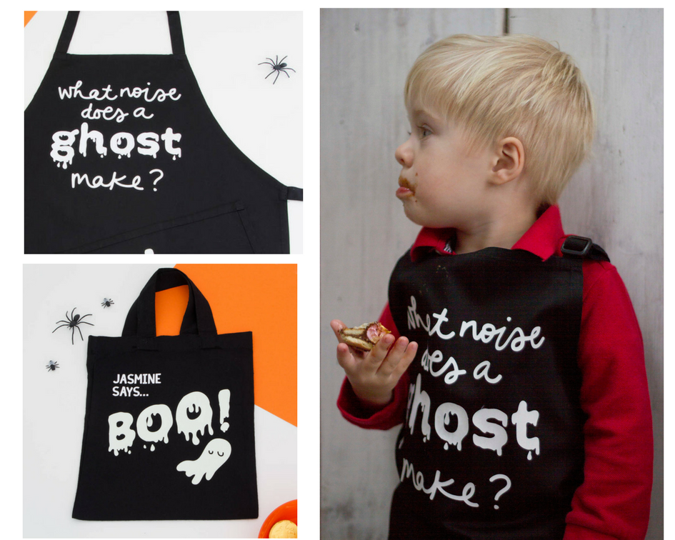 Squiffy Print Trick or Treat Bags and Aprons