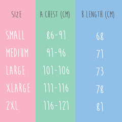 Squiffy Print sizing guide for t-shirts