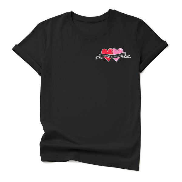 Personalised Tattoo hearts on BLACK t-shirt