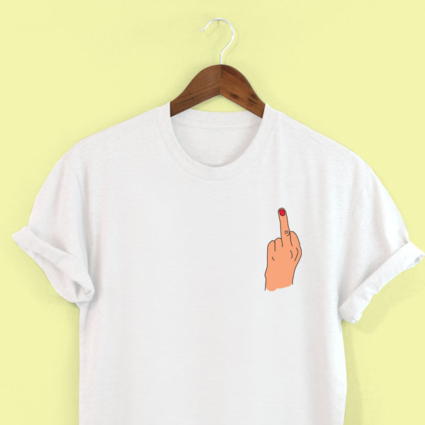 Middle Finger Up T-shirt by Squiffy Print