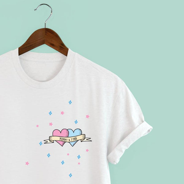 Squiffy Print personalised tattoo t-shirt blue & pink hearts