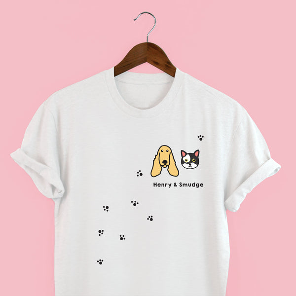 Squiffy Print Personalised Dog & Cat t-shirt