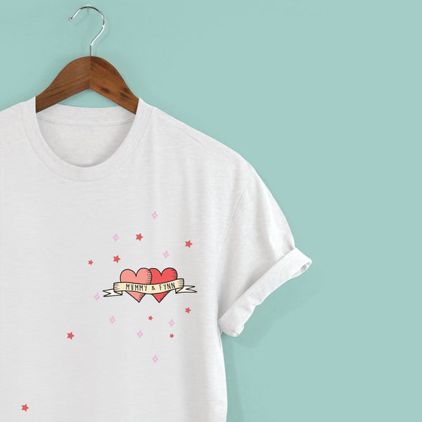 Personalised Tattoo Hearts T-shirt