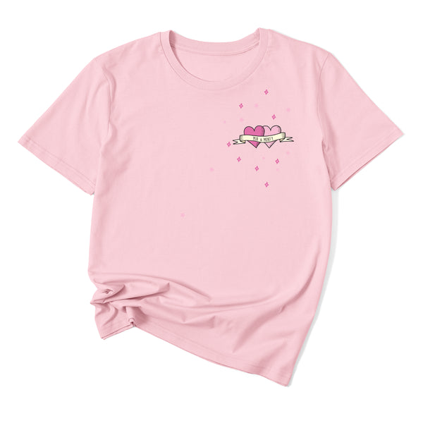 Squiffy Print pink tattoo hearts on pink t-shirt
