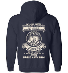 Navy Mom The Silent Rank Zip Up Hoodie