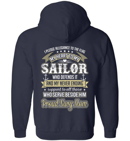 Navy Mom Heart Pledge Zip Hoodie