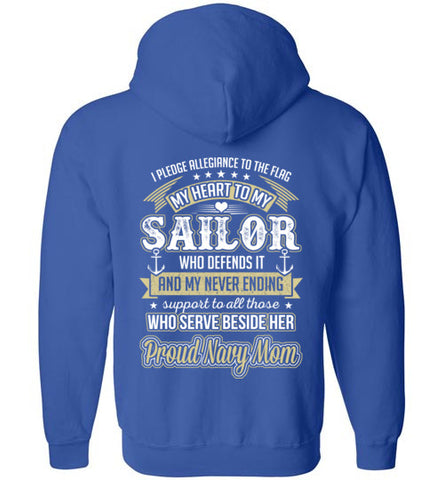 Navy Mom Pledge Heart Daughter Zip Hoodie