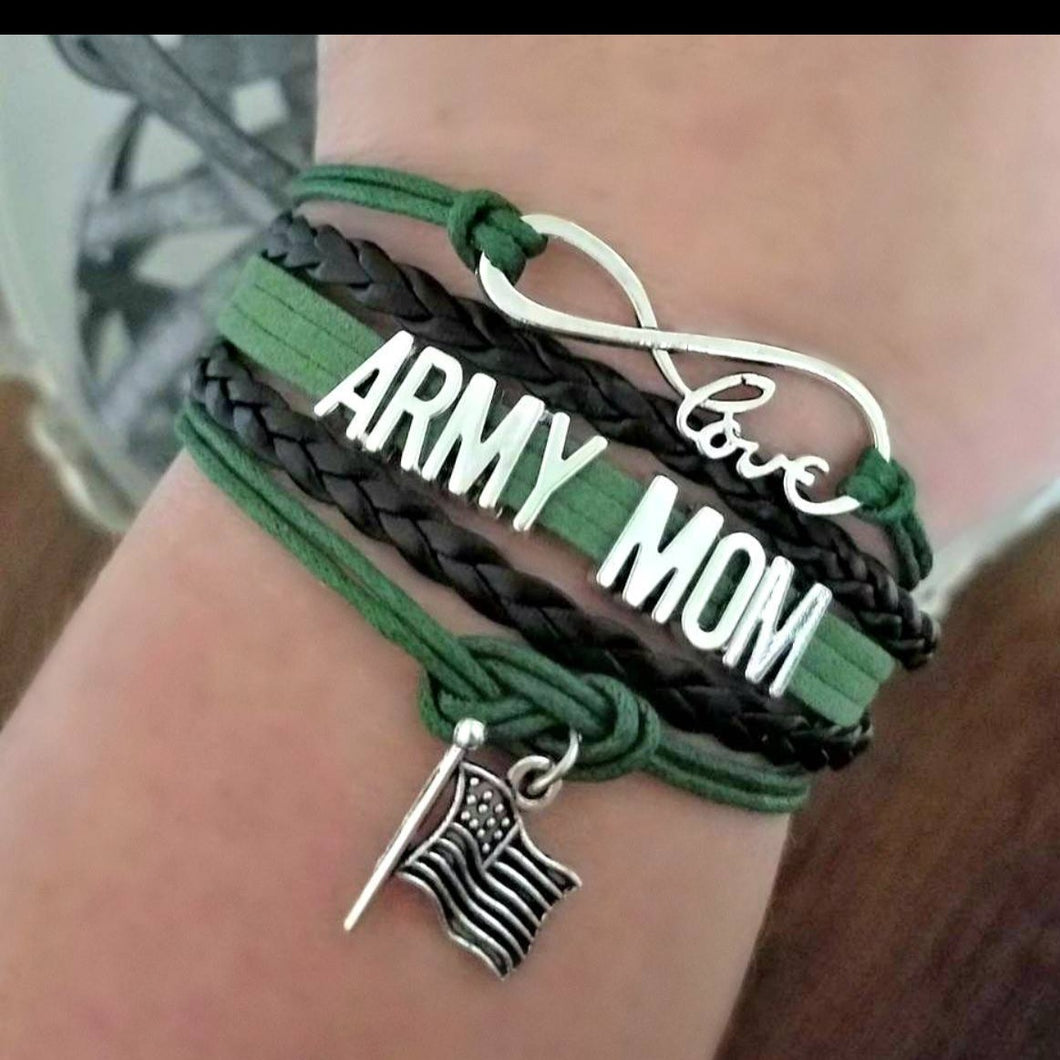 Infinity Army Mom Bracelet with USA Flag