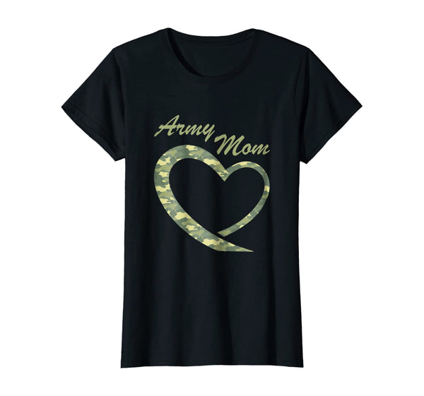Proud Army Mom Camouflage Heart T-shirts