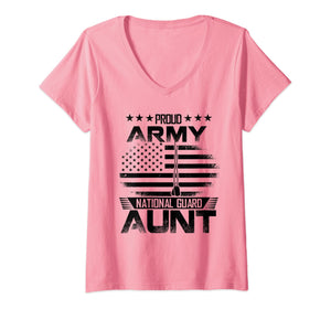 Proud Army National Guard Aunt V-Neck T-shirts