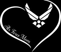 Air Force Mom Curve Heart Decal