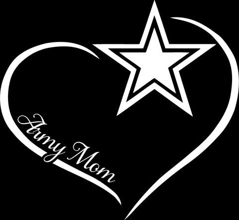 Army Mom Curve Heart Decal