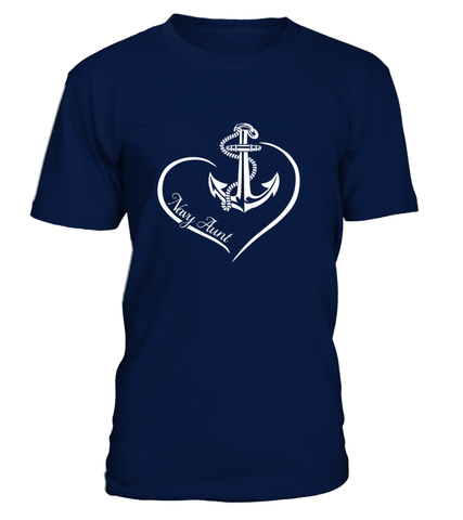 Navy Aunt Curve Heart T-shirts