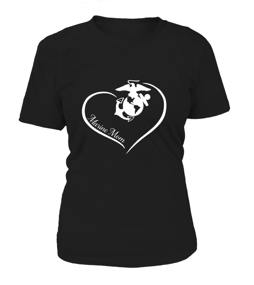 Marine Mom Curve Heart T-shirts