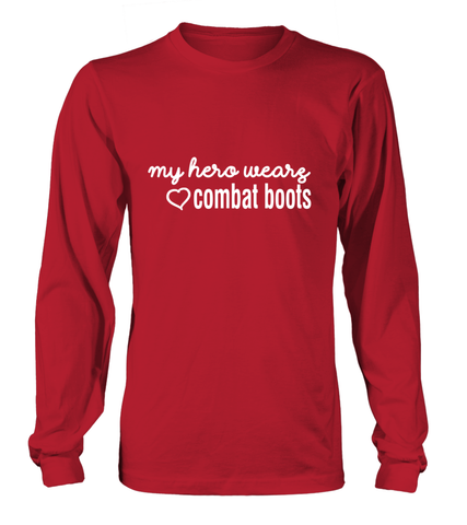 Military Mom My Hero Combat Boots Long-sleeves