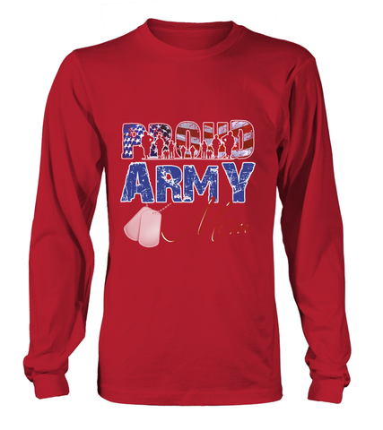 Proud Army Mom Distress Long-sleeves