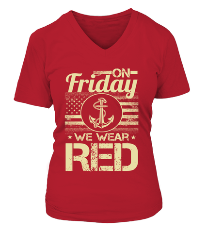 Navy Mom We Wear RED T-shirts