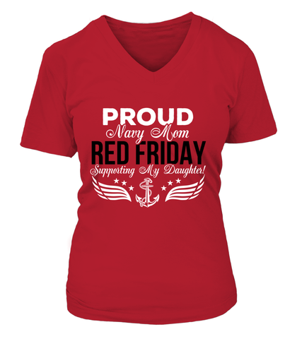 Navy Mom RED Support My Daughter T-shirts