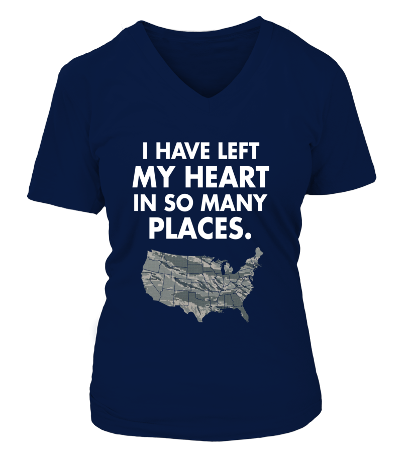 Air Force Mom Heart Many Places T-shirts - MotherProud