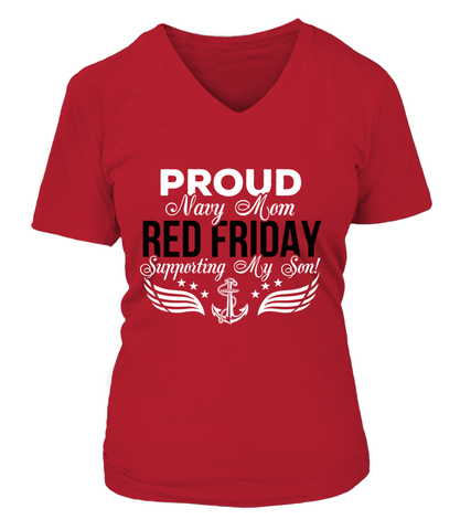 Navy Mom RED Support My Son T-shirts