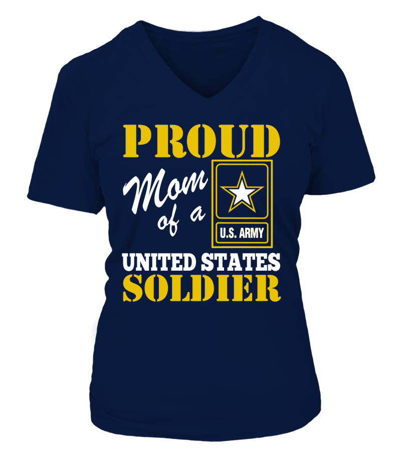 Proud Mom Of US Soldier V-neck T-shirts