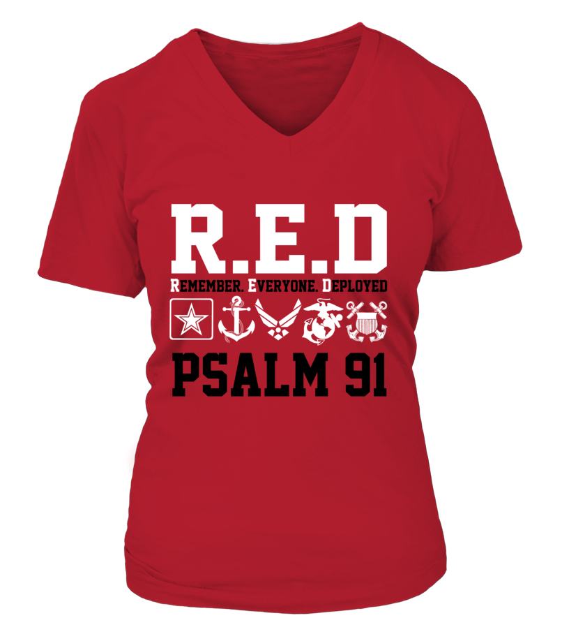 Wear RED on Fridays PSALM 91 Military T-shirts All Styles Available