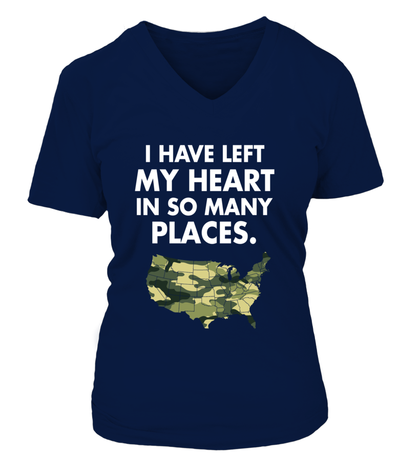 Army Mom Heart In Many Places T-shirts - MotherProud