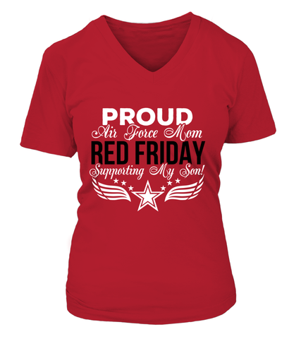 Air Force Mom RED Support Son T-shirts