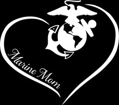 Marine Mom Curve Heart Decal - MotherProud
