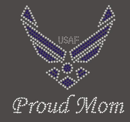 Air Force Mom Rhinestone Transfer Hot Fix Iron On
