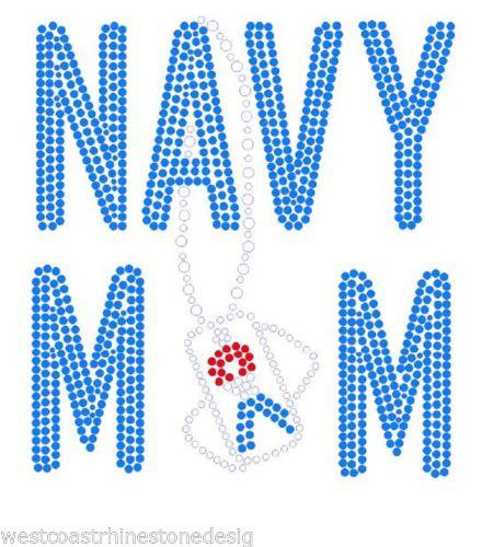 Navy Mom Rhinestone Dog Tag Iron on Transfer