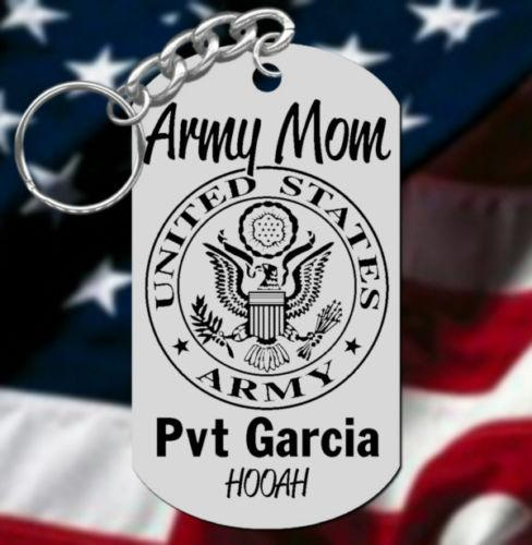 Army MOM Keychain Gift, Personalized FREE with Name or Rank HOOAH