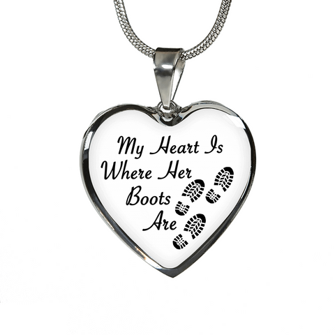 Military Moms Heart Boots Daughter Necklaces