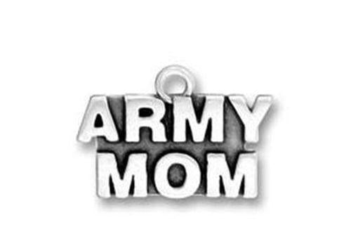 ARMY MOM  Antiqued Silver Traditional Charm Pendant - MotherProud