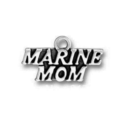 Marine Mom Antiqued Silver Traditional Charm/Pendant - MotherProud