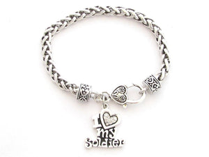 I Love My Soldier Crystal Heart Silver Bracelet - MotherProud