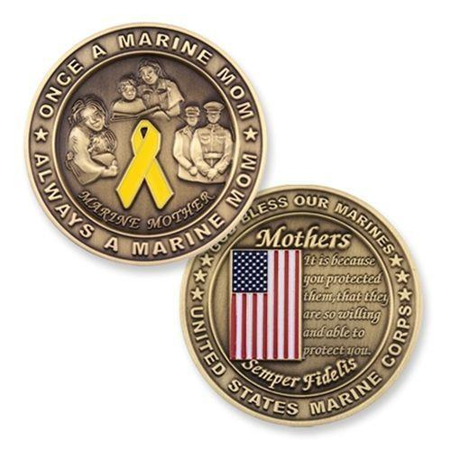 Marine Corps Mom Mother Big Bronze Challenge Coin - MotherProud
