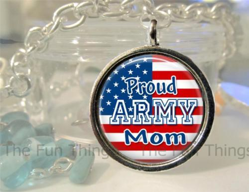 Charms & Charm Bracelets - Proud Army Mom 20mm Round Setting Charm Only