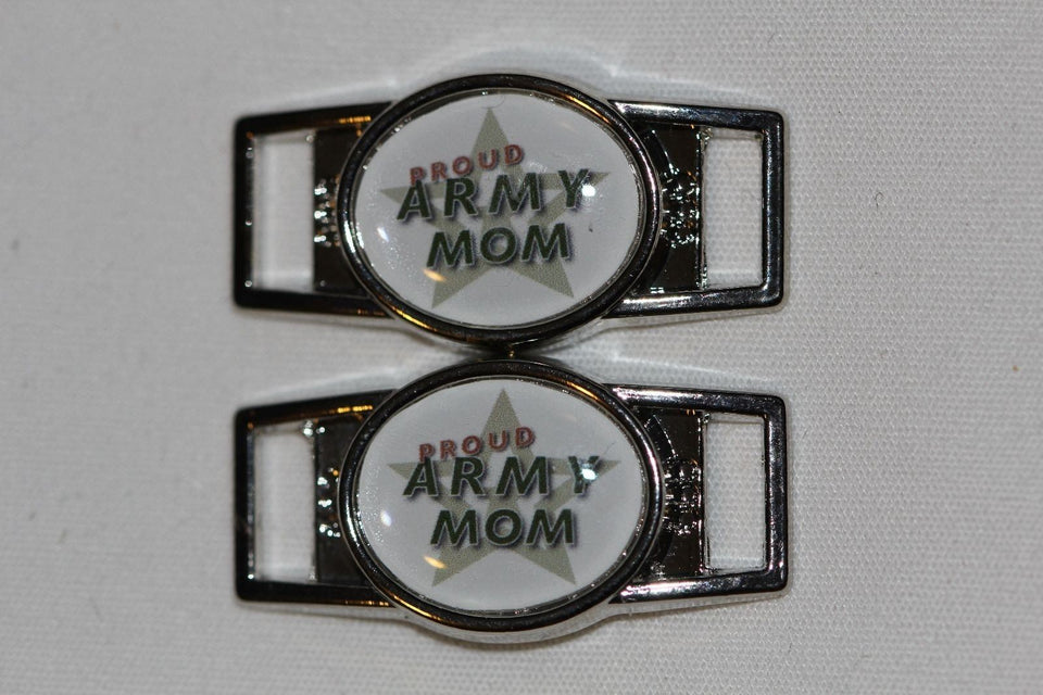 """Proud Army Mom"" shoelace charm pair paracord - MotherProud"