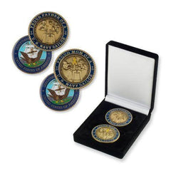 Navy Mom And Dad Challenge Coin Set In Box - MotherProud
