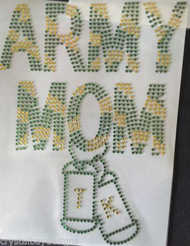 Personalized Army Mom Iron On Rhinestone