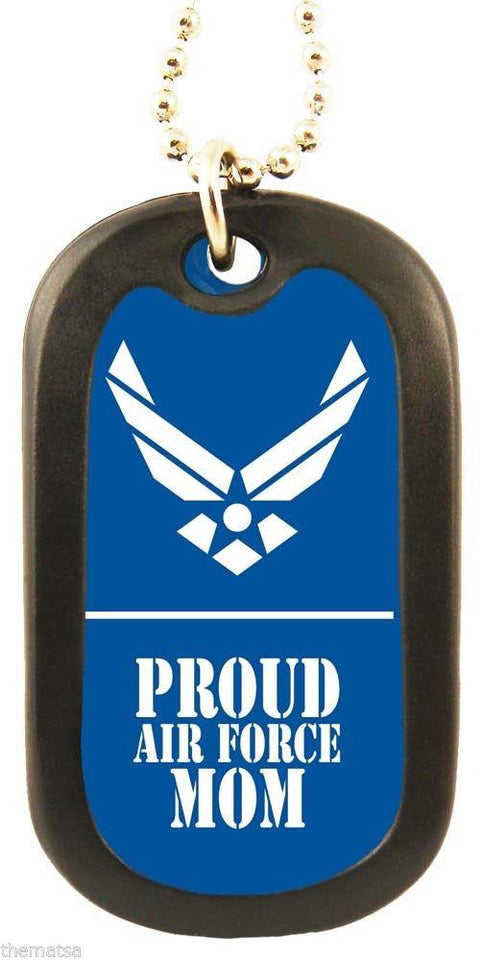 Dog Tag - Proud Air Force Mom Blue Military Logo Engravable Military Dog Tag