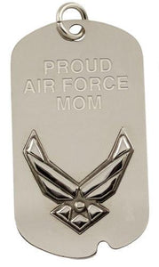 Dog Tag - Proud Air Force Mom Engravable Metal Logo Military Dog Tag