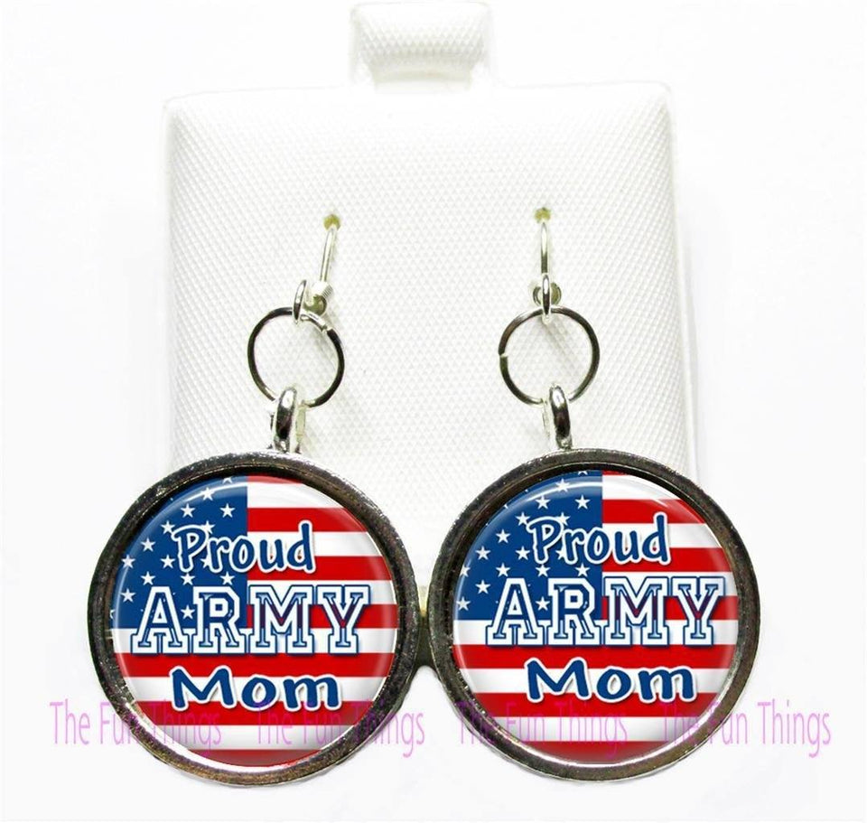 Earings - Proud Army Mom Dangle 20 Mm Earrings (Custom Made)